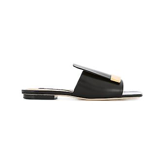 Sergio Rossi women's A80380MNAN071000 black leather sandals