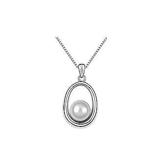 Beautiful Pearl Style Pendant Necklace White Stone Jewellery Gift BG1613