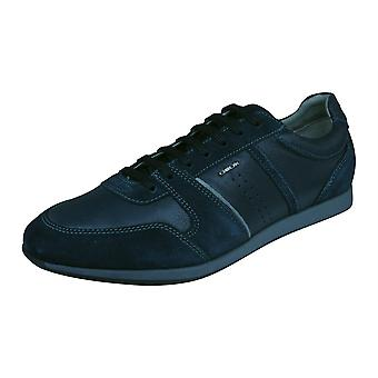 Mens Geox Trainers U Clemet A Nappa Leather Casual Shoes - Blue
