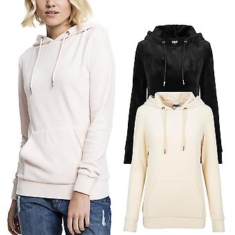 Urban classics ladies - VELVET velvet velour Hoody sweater