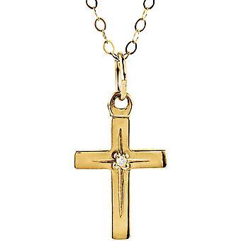 14k Yellow Gold voor jongens of meisjes Cross Diamond Pendant 13x9.5mm