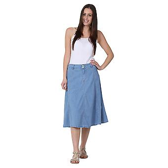 Mid-length Denim Skirt A-line Lightwash Denim Midi Skirt