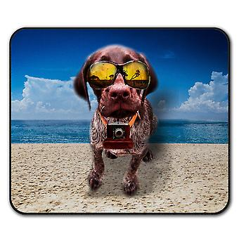Beach Glasses Funny Dog  Non-Slip Mouse Mat Pad 24cm x 20cm | Wellcoda