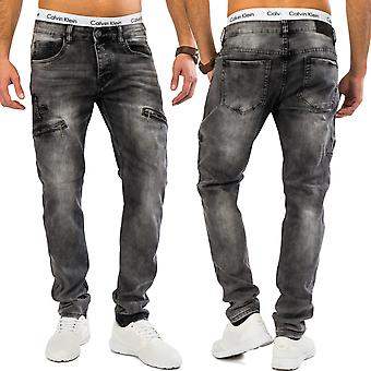 Mens tapered regular fit jeans Nr. 1609, acid wash cargo style pants denim gray