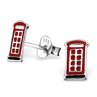 London Phone Box - 925 Sterling Silver Colourful Ear Studs