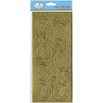 Christmas Ornaments Round Peel-Off Stickers-Gold