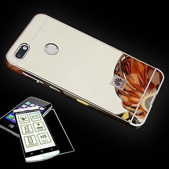Espejo / espejo aluminio 2 piezas tope oro + 0,3 mm H9 vidrio de protección para Huawei Y6 2018