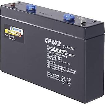 Conrad energy CE6V/7Ah 250129 VRLA 6 V 7 Ah AGM (W x H x D) 151 x 94 x 34 mm 4.8 mm blade terminal Maintenance-free