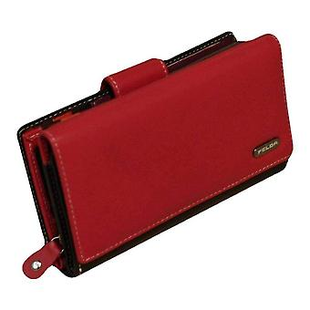 Felda Long Card and Coin RFID Purse - Red/Black