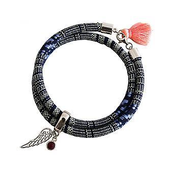 -Bracelet - bracelet - 925 Silver - leaf - Angel - AZTEC - Ruby - red - rose