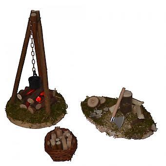 Stable Nativity set HOLY 3 PCs Nativity accessories. Campfire HAA wood basket