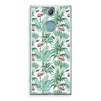 Sony Xperia XA2 Transparent Case (Soft) - Flamingo leaves
