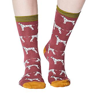 Dalmatian women's super-soft bamboo crew socks in rose pink | By Thought