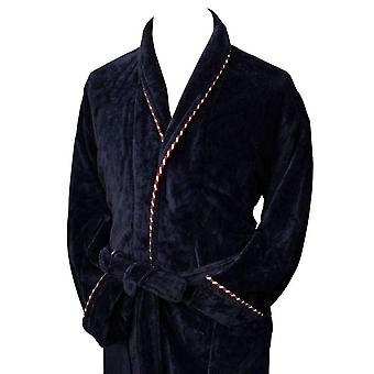 Bown of London Earl Cotton Velour Dressing Gown - Navy