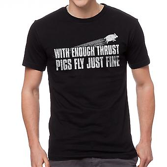 Funny With Enough Thrust Pigs Fly Just Fine Graphic Men's Black T-shirt