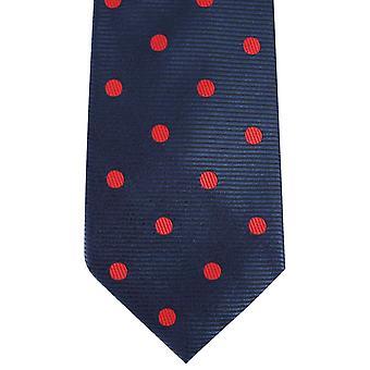 David Van Hagen Ribbed Polka Dot Tie - Navy/Red