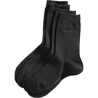 Esprit Basic Easy 2 Pack Mid-Calf Socks - Black