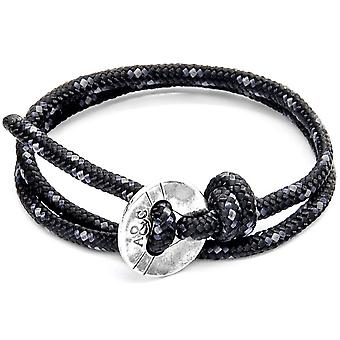 Anchor and Crew Lerwick Silver and Rope Bracelet - Black