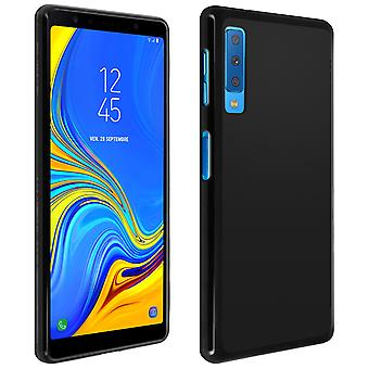 Silicone case, Glossy & matte back cover for Samsung Galaxy A7 2018 - Black