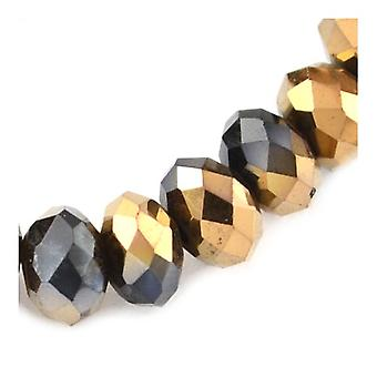 70+ Black/Gold Czech Crystal Glass 8 x 10mm Faceted Rondelle Beads HA20265