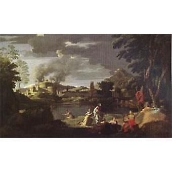 Orpheus and Eurydice, Nicolas Poussin, 40x60cm with tray