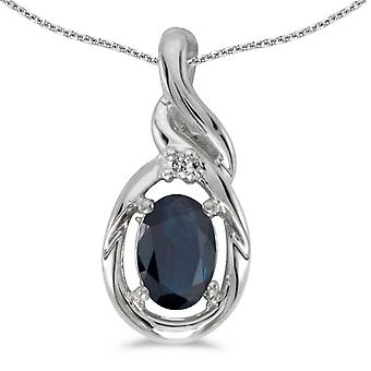 10k White Gold Oval Sapphire And Diamond Pendant with 18