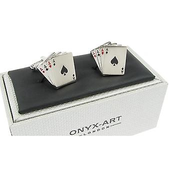 Four Aces Cufflinks by Onyx Art - Gift Boxed - Card Player Gambler Gambling
