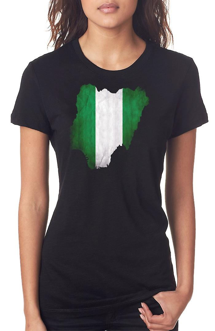 Nigeria Flag Map Ladies T Shirt