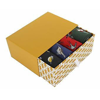 Birds Gift Box | 4 pairs of men's soft bamboo crew socks by Thought