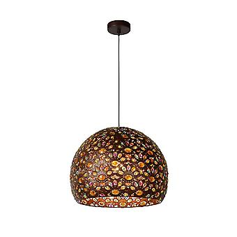 Lucide Byrsa Oriental Round Metal Rust Brown And Black Pendant Light