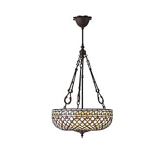 Feux Large Tiffany Style Inverted Three Light Ceiling Pendant