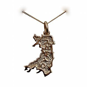 9ct Gold 20x14mm Map of Wales Cymru Pendant with a curb Chain 20 inches