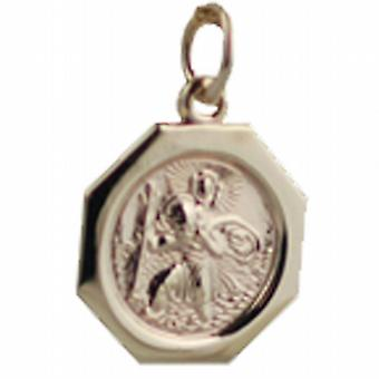 9ct Gold 15x15mm octagonal St Christopher Pendant