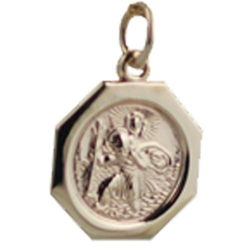 9ct Gold 15x15mm hexagonal St Christopher