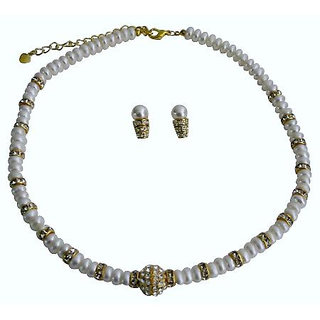 Fine Handcrafted Freshwater Pearls Jewelry Gold Rondell Bride Necklace