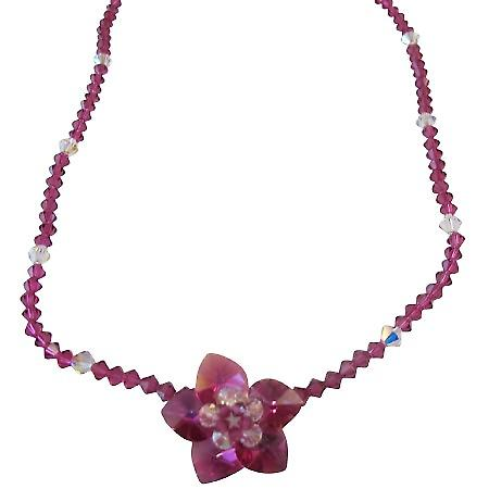 Fuchsia & Clear Swarovski Crystals Flower Pendant Handmade Jewelry