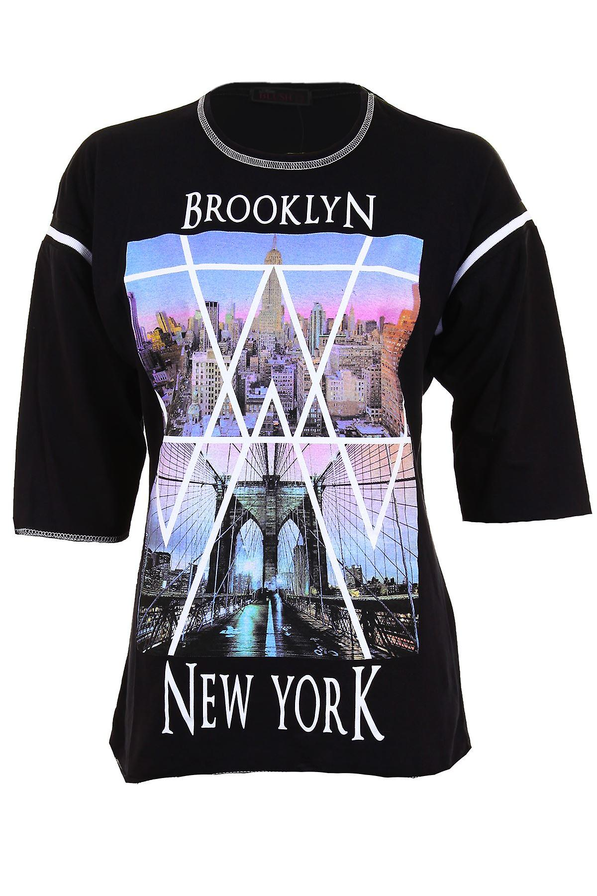 Ladies 3/4 Sleeve Brooklyn New York NY City Print Casual Women's Top