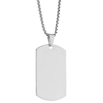 Iced out stainless steel pendant necklace - dog tag silver