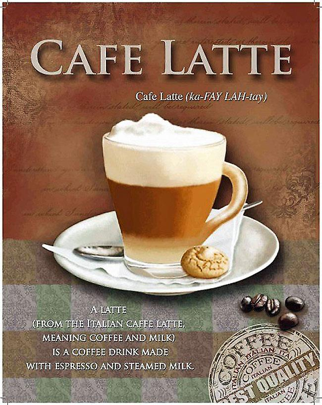 Cafe Latte steel wall sign  (og 2015)