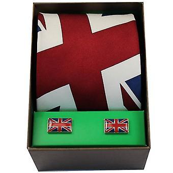 Gemelli e cravatta Union Jack David Van Hagen Set - rosso/blu/bianco