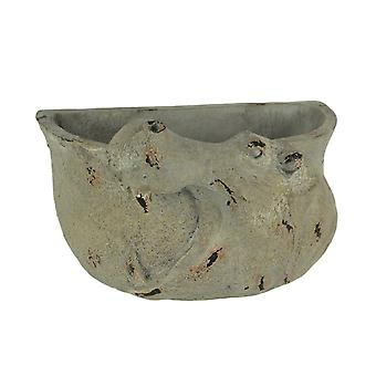 Grey Stone Finish Carved Hippo Head Hanging Planter