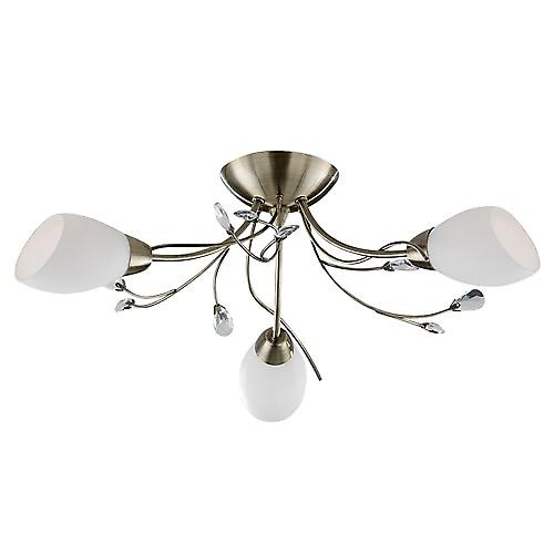Searchlight 1763-3AB Gardenia Traditional Semi Flush Light With White Glass Shades