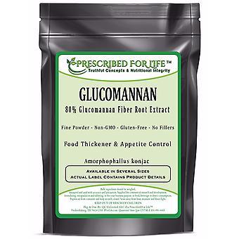 Glucomannan - Natural Non-GMO Soluble Konjac Root Fiber Powder - 80% Glucomannan (Amorphophallus konjac)