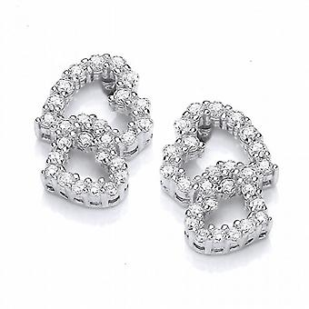 Cavendish French Frilly Little CZ Heart Earrings