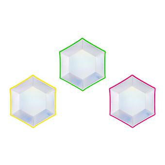 Holographic Hexagon Plate x 6 20cm Partyware