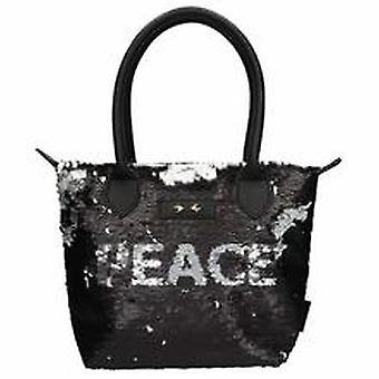 Depesche 10611 Handbag With Sequins Trend Love And Peace Black
