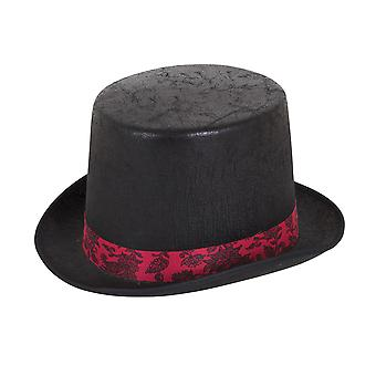 Bristol Novelty Unisex Aged Look Top Hat With Colour Band