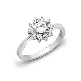 Jewelco London Solid 18ct White Gold Claw Set Round G SI1 0.4ct Diamond Semi Set Mount Engagement Ring 10mm