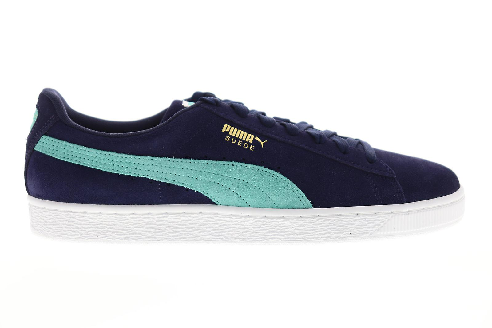 newest 08188 54ac5 Puma Suede Classic Mens Blue Suede Low Top Lace Up Sneakers Shoes