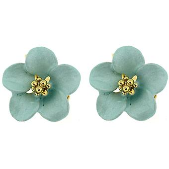 Clip On Earrings Store Petite Pastel Jade Green & Gold Plated Delicate Flower Clip On Earrings